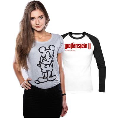 Футболка Good Loot Комплект: Mickey Mouse - Angry Mickey (женская) + Лонгслив Wolfenstein II: The New Colossus Logo
