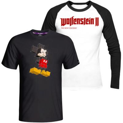 Футболка Good Loot Комплект: Mickey Mouse - Mickey Pixels + Лонгслив Wolfenstein II: The New Colossus Logo