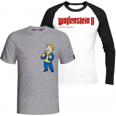 Комплект: Футболка Fallout - Vault Boy (Charisma) + Лонгслив Wolfenstein II: The New Colossus Logo
