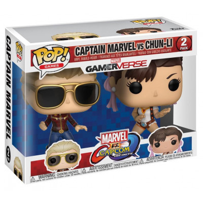 Набор фигурок Набор головотрясов Marvel vs Capcom: Infinite - POP! Games - Captain Marvel vs Chun-Li (9.5 см)