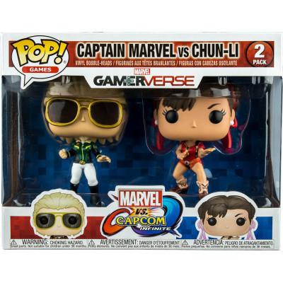 Набор фигурок Funko Набор головотрясов Marvel vs Capcom: Infinite - POP! Games - Captain Marvel vs Chun-Li (Exc) 23978 (9.5 см)