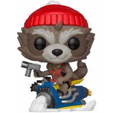 Головотряс Marvel: Holiday - POP! - Rocket Raccoon On Sled (9.5 см)
