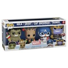 Набор головотрясов Marvel: Happy Holiday - POP! - Hulk (Glows in the Dark) / Groot / Cap Snowman / Thanos (Exc) (9.5 см)