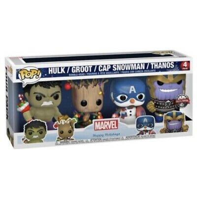 Набор фигурок Funko Набор головотрясов Marvel: Happy Holiday - POP! - Hulk (Glows in the Dark) / Groot / Cap Snowman / Thanos (Exc) 51796 (9.5 см)