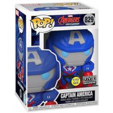 Головотряс Avengers Mech Strike - POP! - Captain America (Glows in the Dark) (9.5 см)