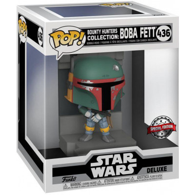 Фигурка Funko Головотряс Star Wars - POP! Deluxe - Bounty Hunter Collection: Boba Fett (Metallic) (Exc) 55827 (15 см)