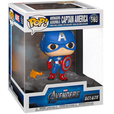 Фигурка Funko Головотряс Avengers - POP! Deluxe - Avengers Assemble: Captain America (Exc) 45076 (14 см)