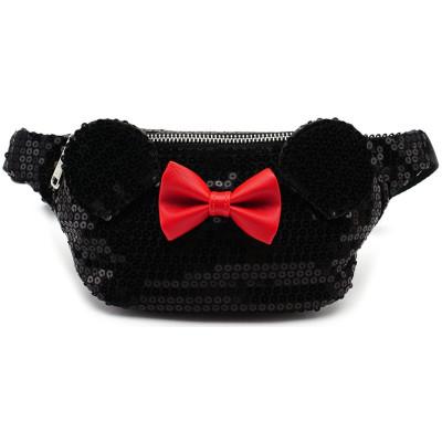 Сумка через плечо Minnie Mouse (черные блестки и красный бант)