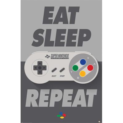 Постер Pyramid Nintendo - Eat Sleep SNES Repeat PP34240 (61x91.5 см)