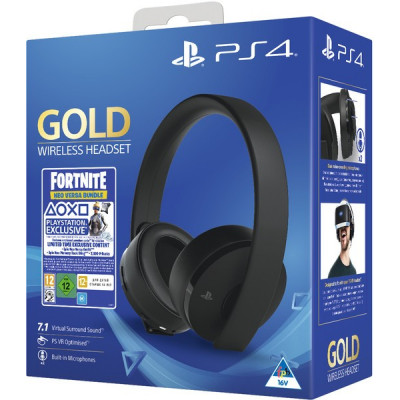 Комплект Fortnite Neo Versa Gold: гарнитура беспроводная Gold для PS4 / PS3 / PS Vita (CUHYA-0080) (черный) + Ваучер «Fortnite 2019»