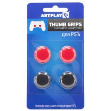 Защитные накладки Thumb Grips на стики геймпада DualShock 4 для PS4 (4 шт, 2 красных, 2 черных)