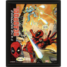 Линзовидный 3D постер Deadpool - Attack (20x25 см)