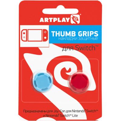 Накладки Artplays Сменные Thumb Grips Pro для контроллера NS / NS Lite (красные/синие, 2 шт)
