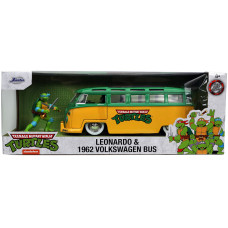 Набор Teenage Mutant Ninja Turtle - Hollywood Rides - Leonardo & 1962 Volkswagen Bus (7 см, 1:24)