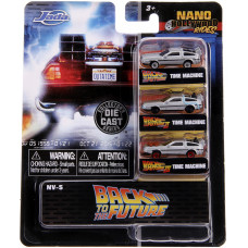 Набор моделей автомобилей Back To The Future - Nano Hollywood Rides - Time Machine 1/2/3 (4 см)