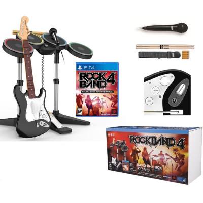 Комплект для Rock Band 4 (игра + гитара, барабаны, микрофон) [PS4, английская версия]