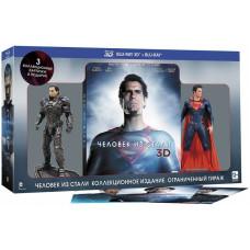 Человек из стали (Фигурка Супермена + Фигурка Генерала Зода + 3 коллекционных открытки) [Blu-ray 3D + 2D версия]